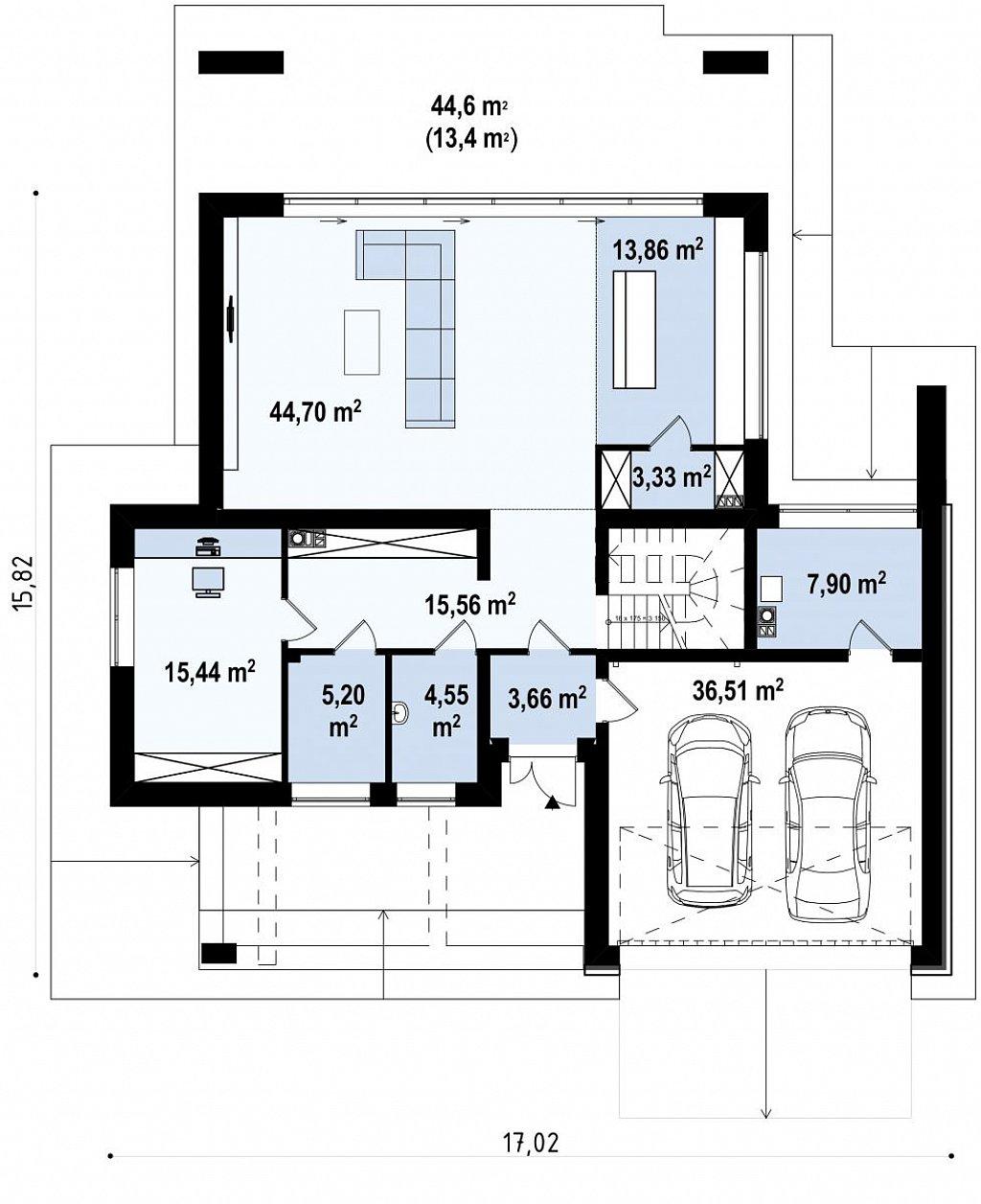 Двухэтажный коттедж с плоской крышей и большой террасой план помещений 1