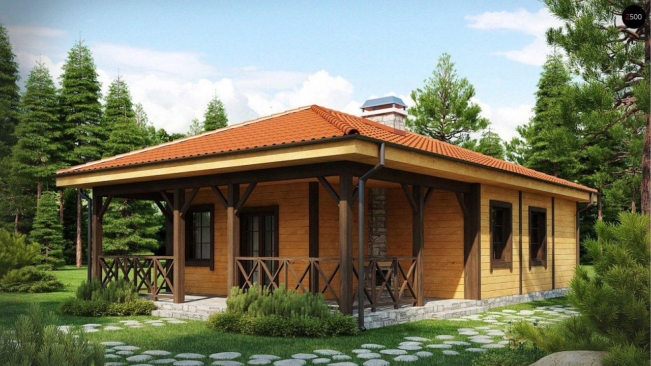 Аккуратный одноэтажный дом с деревянной облицовкой фасадов, адаптированный для каркасной технологии. 1