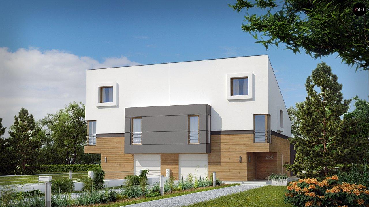 Дома для симметричной застройки с гаражом оригинального современного дизайна. 2