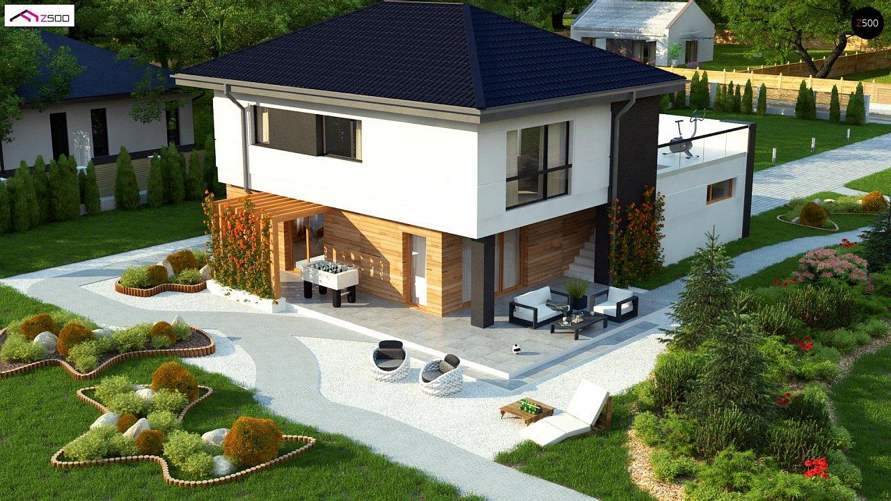 Проект двухэтажного коттеджа с низкой четырехскатной кровлей и большой террасой на втором этаже - фото 6