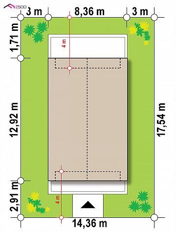 Двухэтажный дом в современном стиле для узкого участка. план помещений 1