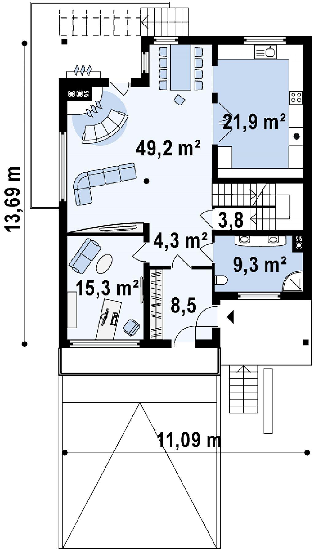 Проект выгодного и практичного двухэтажного дома с подвальным помещение, с дополнительной комнатой на первом этаже. план помещений 2