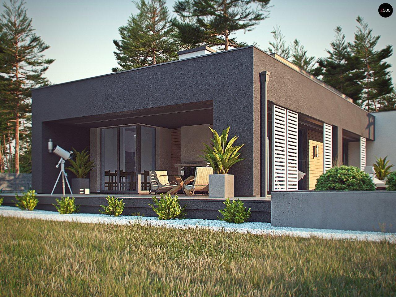 Одноэтажный дом в стиле хай-тек с плоской кровлей и большой площадью остекления. 11