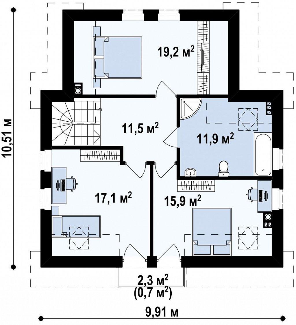 Простой в строительстве дом с балконом над входом. план помещений 2