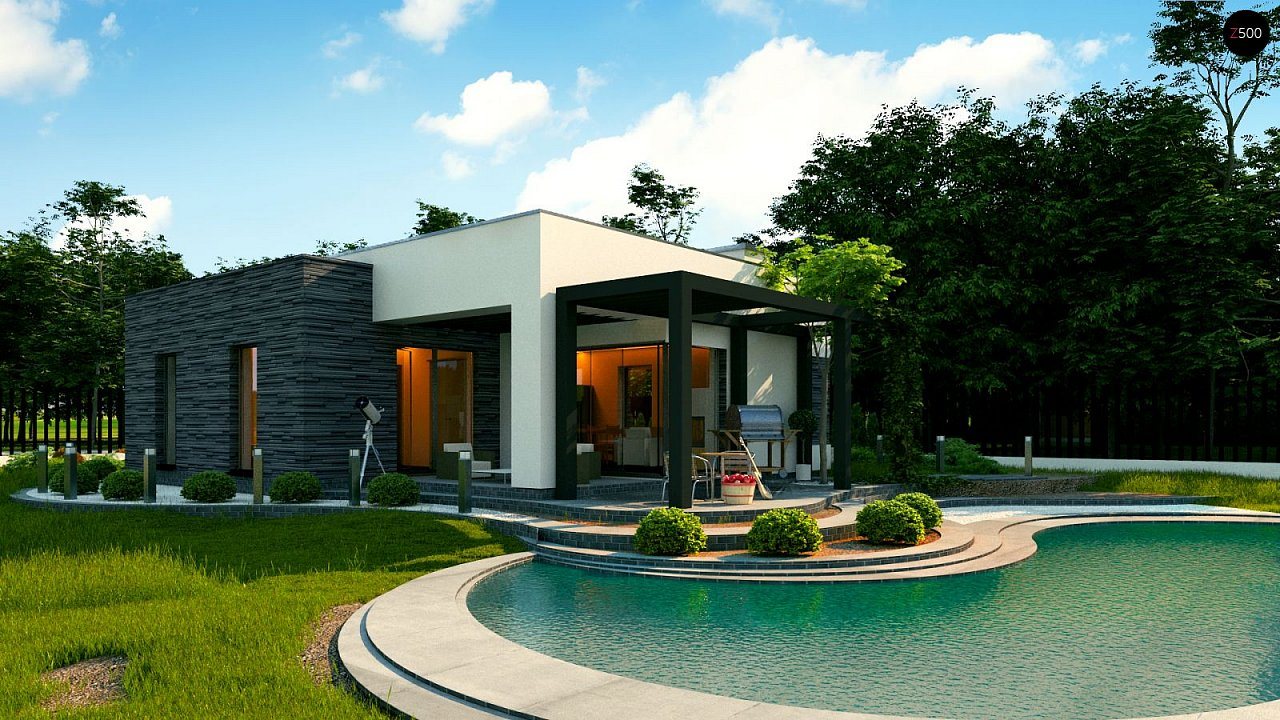 Небольшой современный одноэтажный проект дома с плоской кровлей - фото 4