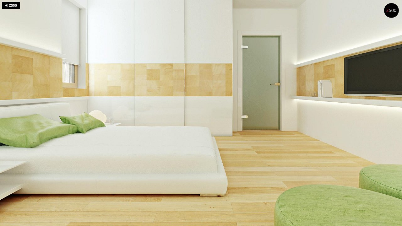 Двухэтажный дом, сочетающий традиционные формы и современный дизайн, с тремя спальнями и гаражом. 15
