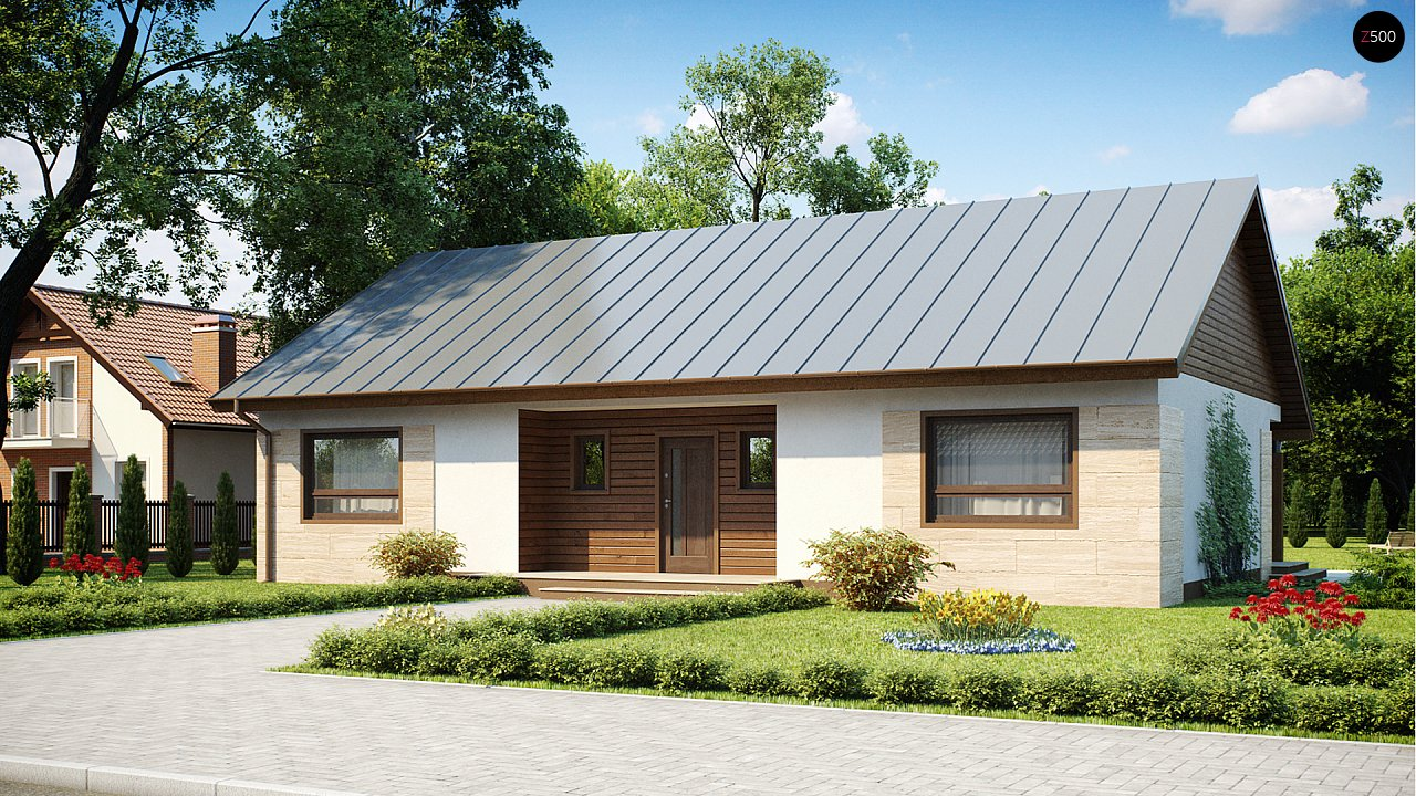 Проект выгодного одноэтажного дома с возможностью адаптации чердачного помещения. 2