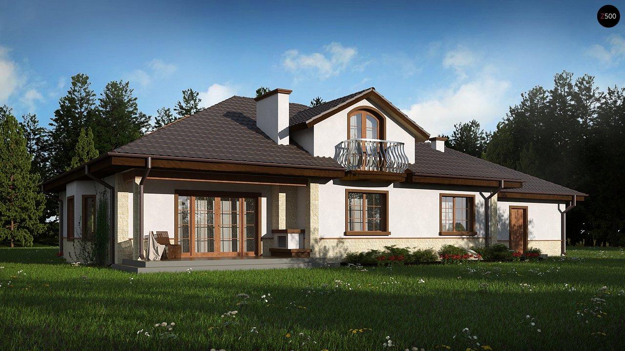 Версия проекта Z10 с гаражом с левой стороны, мансардой и балконом. 1