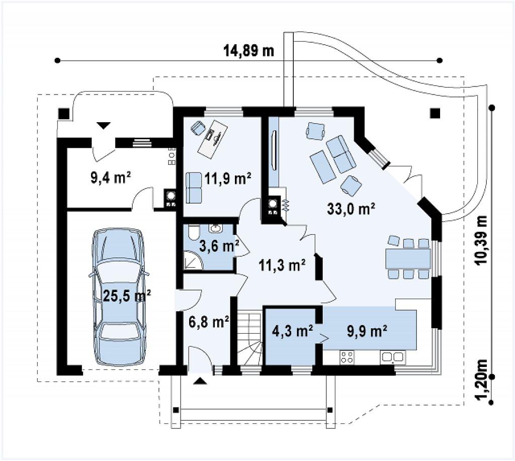 Просторный дом с гаражом, большим хозяйственным помещением и угловой террасой. план помещений 1
