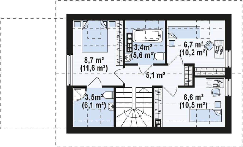 Проект компактного аккуратного дома с гаражом. план помещений 2