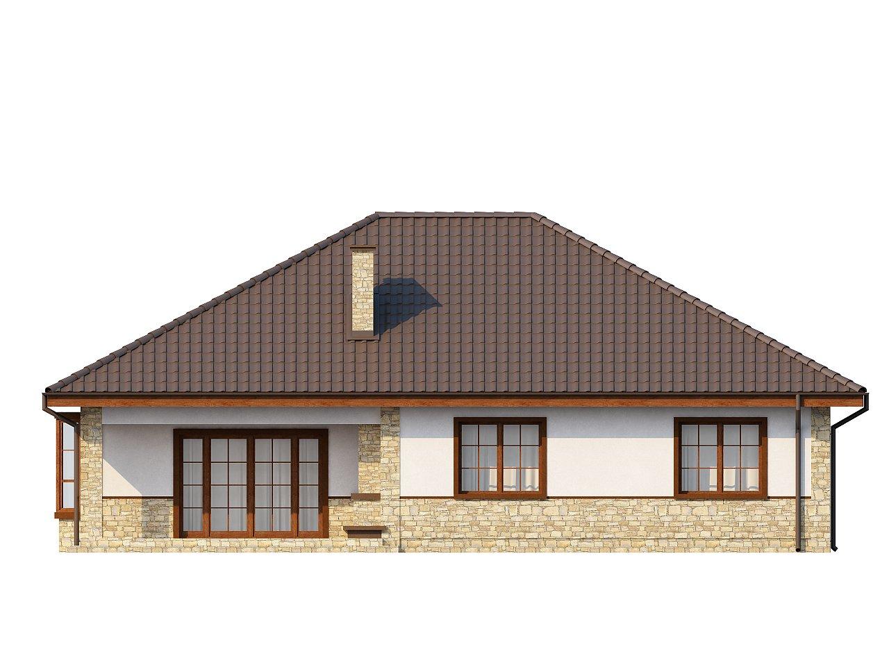 Одноэтажный дом с многоскатной кровлей, эркером и камином на террасе. - фото 22
