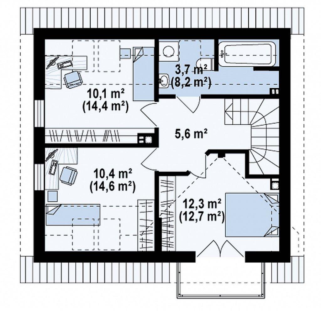 Вариант проекта Z33 без гаража план помещений 2