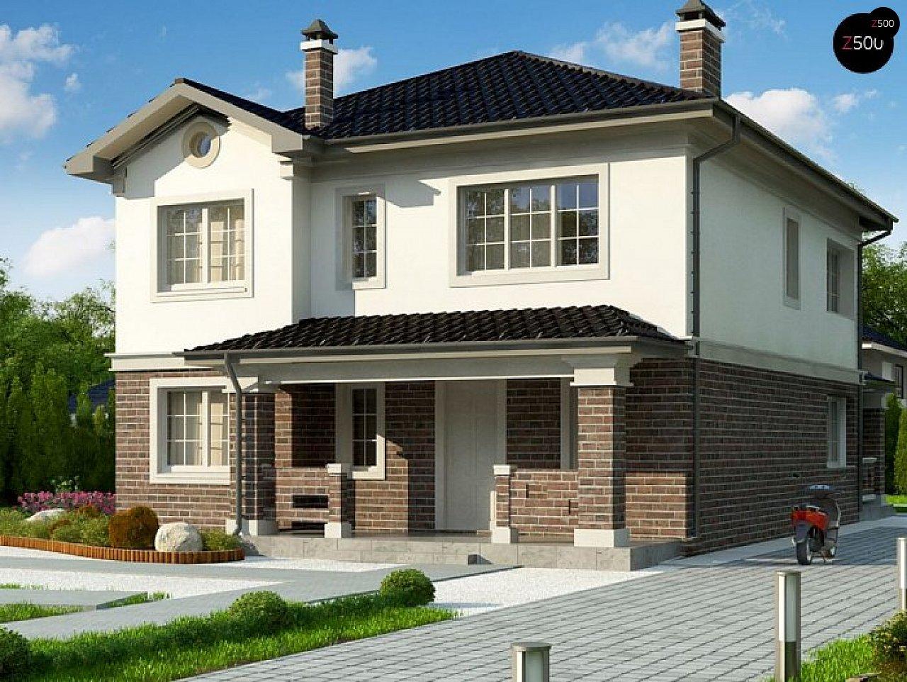 вариант двухэтажного дома Zz2 L BG в классическом стиле с плитами перекрытия - фото 1