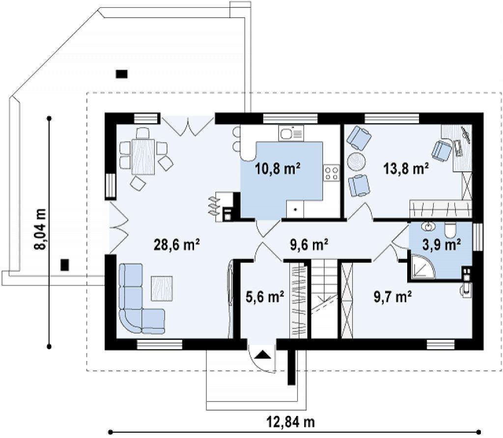 Проект функционального уютного дома с мансардными окнами и оригинальной отделкой фасадов. план помещений 1