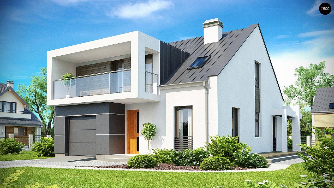 Современный дом с уютным и функциональным интерьером. Интересное сочетание двускатной крыши и кубических форм. - фото 1