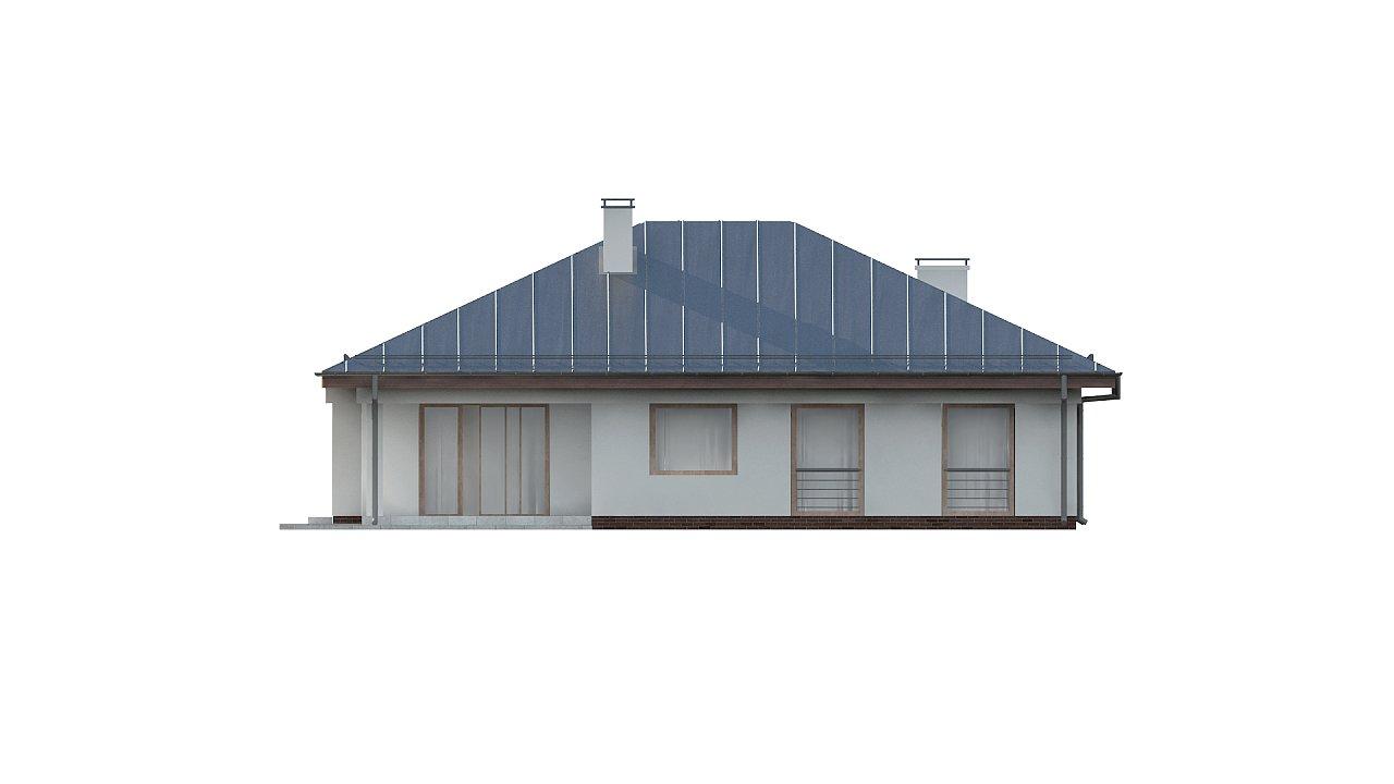 Функциональный одноэтажный дом с фронтальным гаражом для двух авто, большим хозяйственным помещением, с кухней со стороны сада. 25