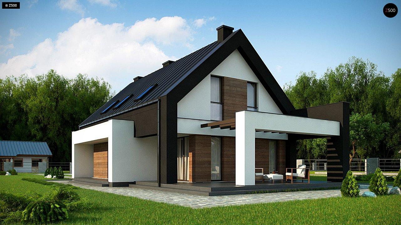 Проект удобного и красивого мансардного дома с гаражом на 2 машини и 3 спальнями. 3