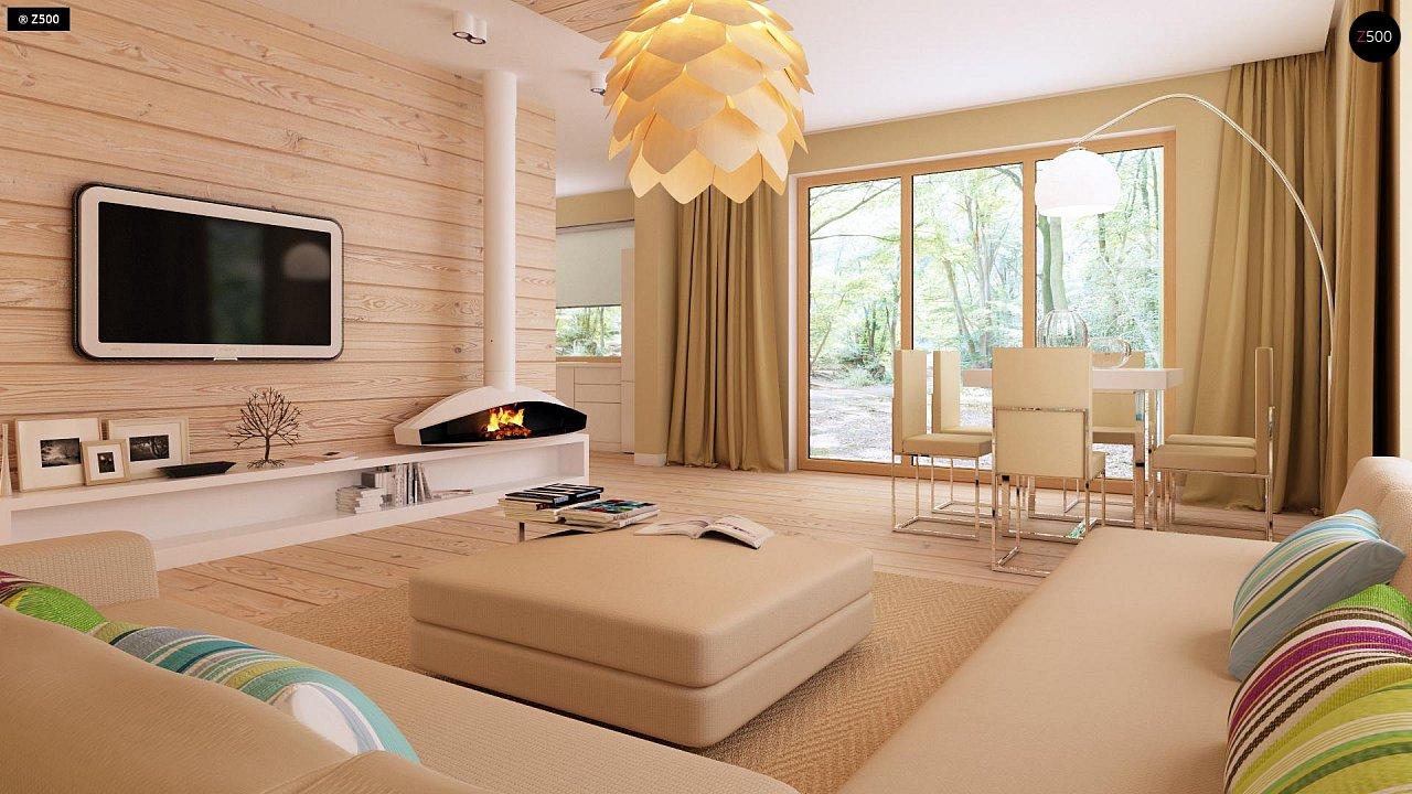 Функциональный одноэтажный дом с фронтальным гаражом для двух авто, большим хозяйственным помещением, с кухней со стороны сада. 6