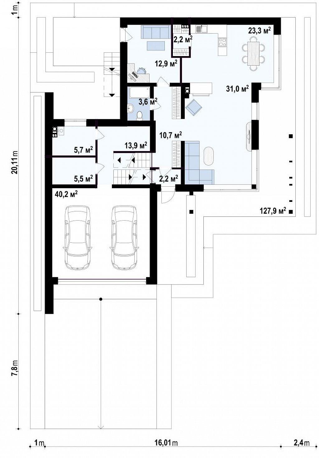 Проект современного двухэтажного дома с большой площадью. остекления. план помещений 1