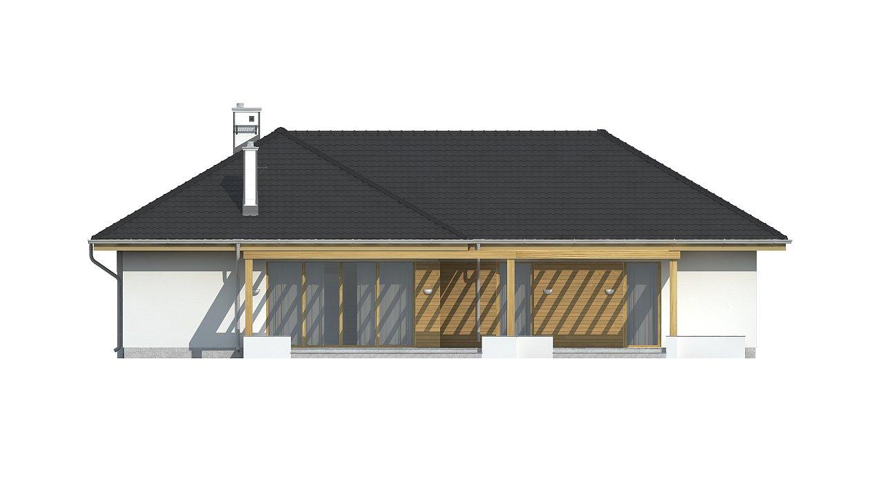 Проект комфортного одноэтажного дома с фронтальным гаражом для двух машин. 8