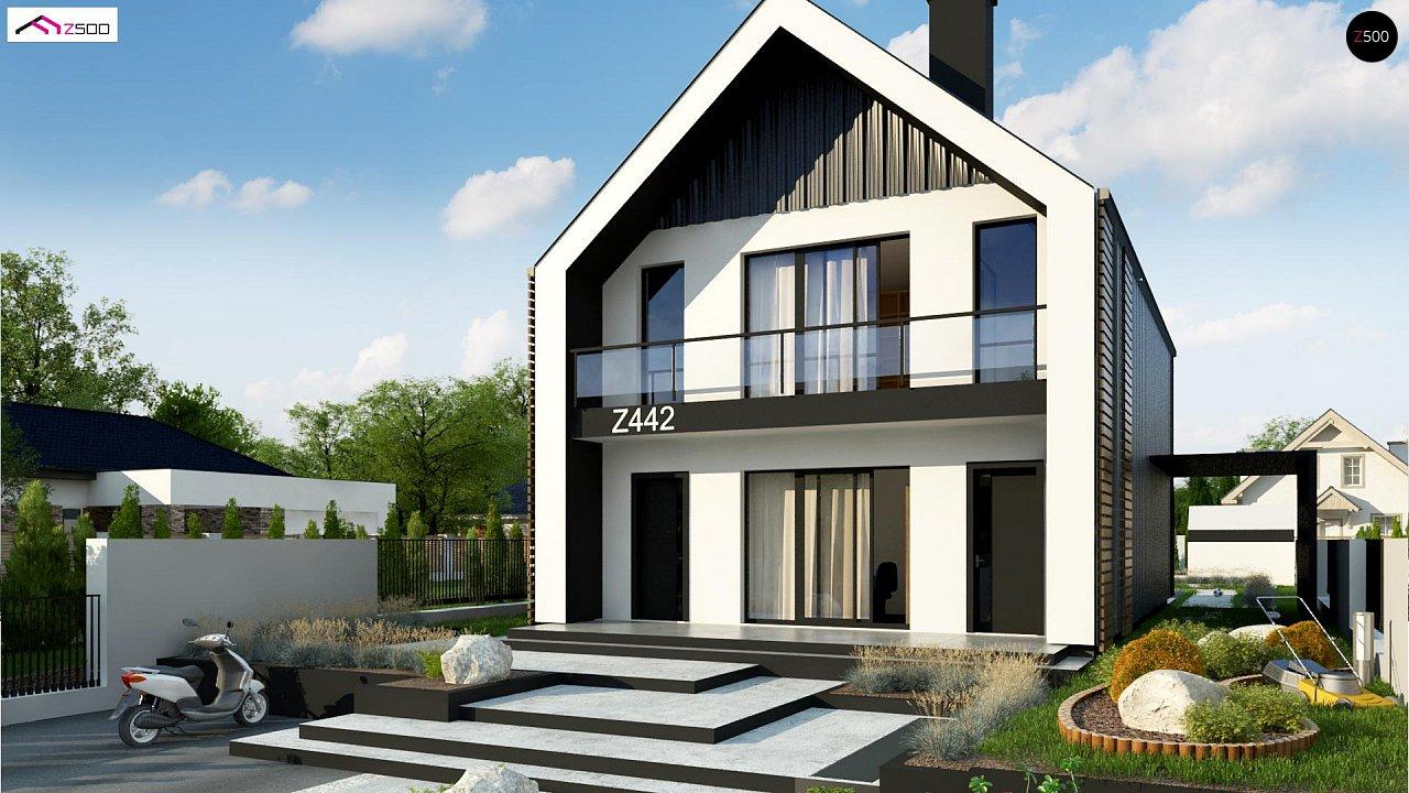 Двухэтажный дом в современном стиле для узкого участка. - фото 3