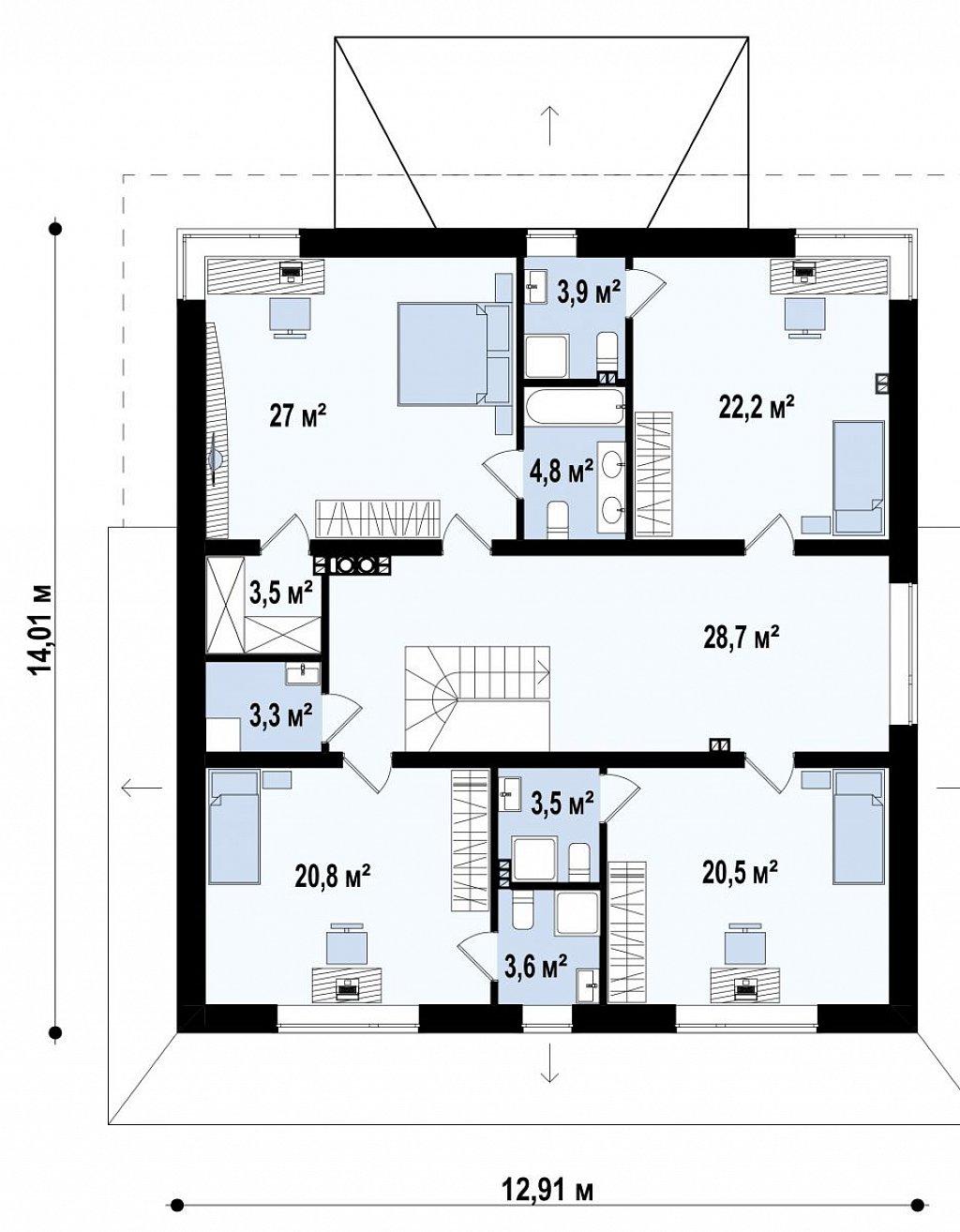Проект комфортной двухэтажной виллы в традиционном стиле. план помещений 2