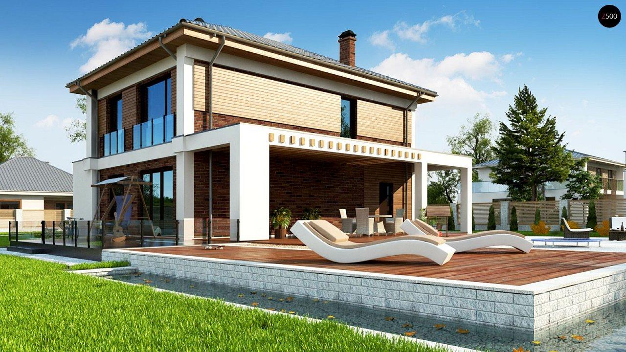 Двухэтажный коттедж с уютной террасой и балконом 3