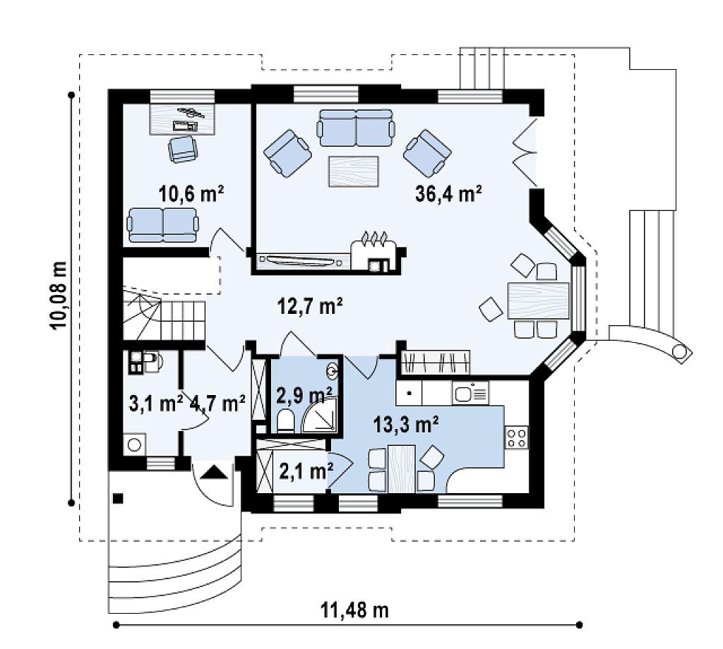 Элегантный дом с мансардой, эркером и балконом над ним. план помещений 1