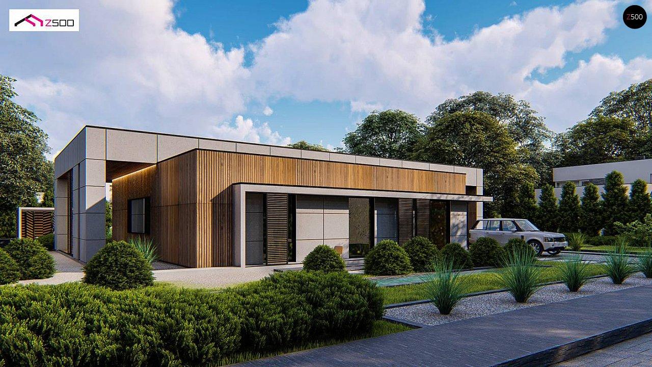 Современный одноэтажный дом c плоской кровлей и просторным гаражом для двух автомобилей. 2