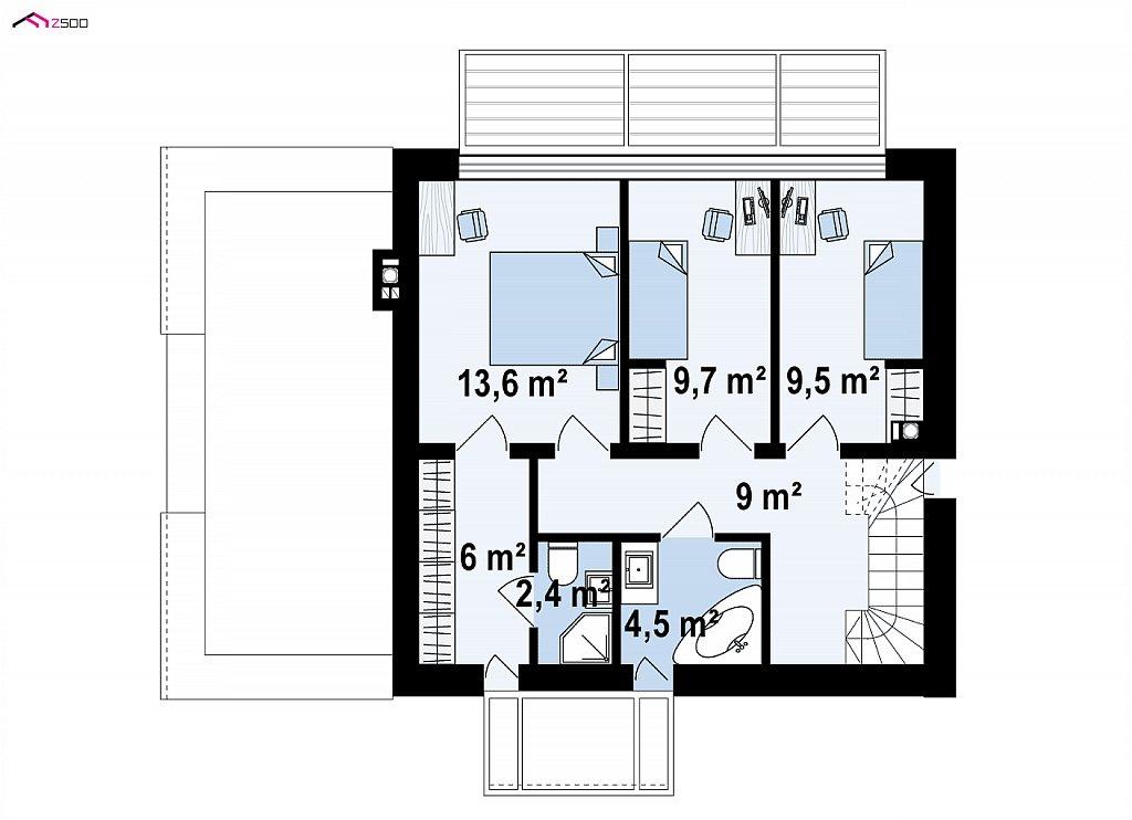 Проект современного односемейного дома с гаражом на одну машину. план помещений 2