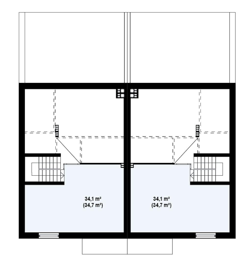 Дома для симметричной застройки с гаражом оригинального современного дизайна. план помещений 3