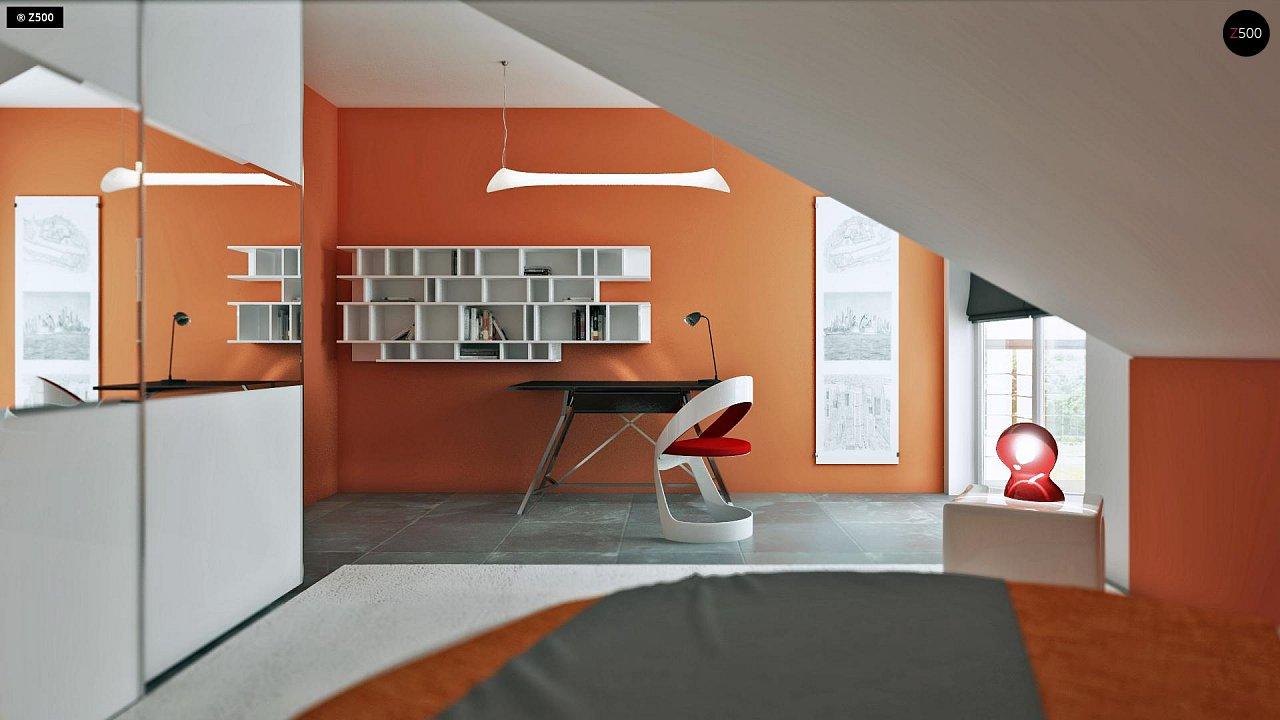 Проект дома с мансардой, с кабинетом на первом этаже и гаражом. 16