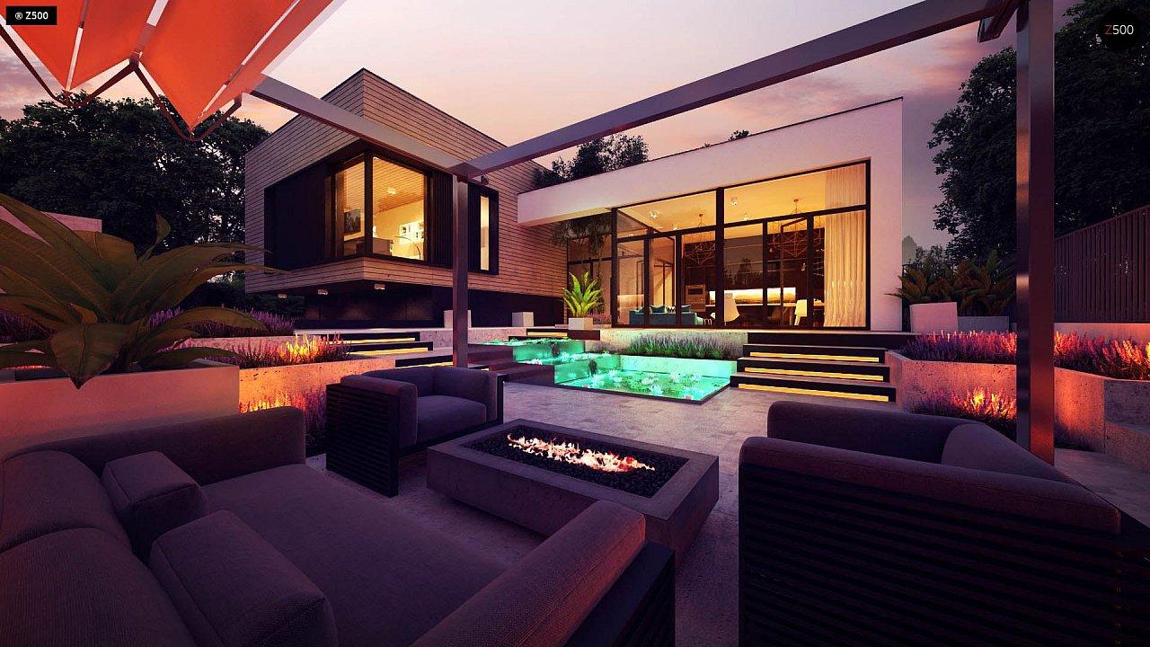 Проект современного дома с плоской кровлей и подземным гаражом. 6