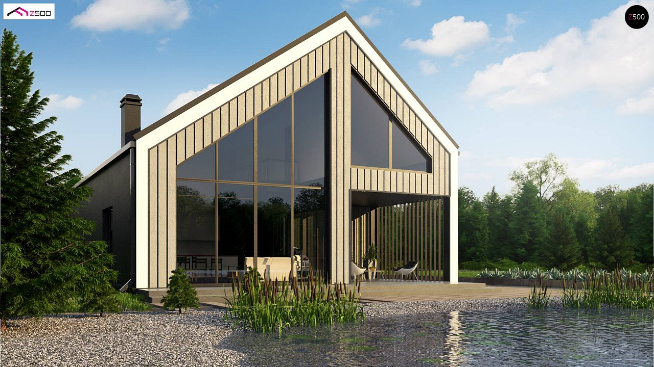 Мансардный дом простой формы с современным оригинальным экстерьером. - фото 3