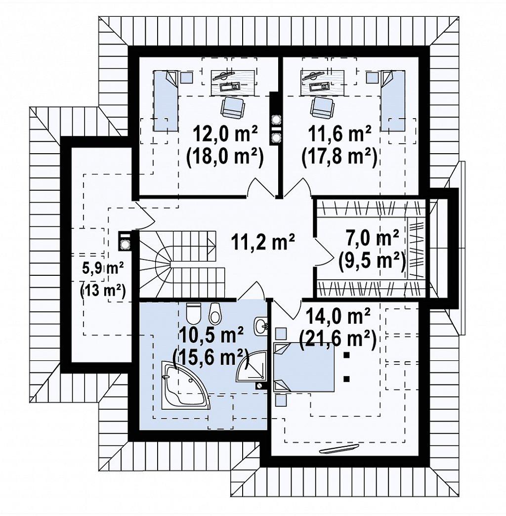 Вариант мансардного дома Z48 без гаража план помещений 2