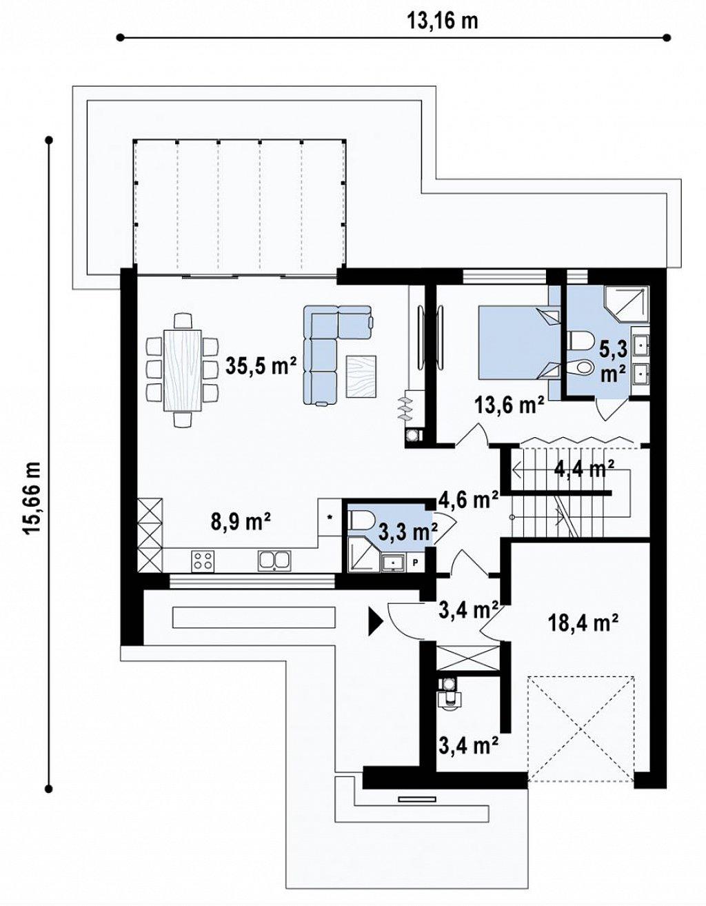 Проект современного двухэтажного дома с оригинальным экстерьером и гаражом на один автомобиль. план помещений 1