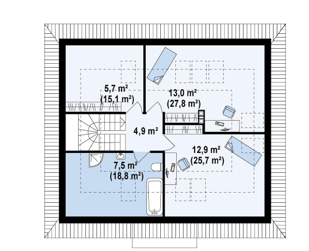 Удобный и красивый дом традиционного характера с двумя дополнительными спальнями на первом этаже. план помещений 2