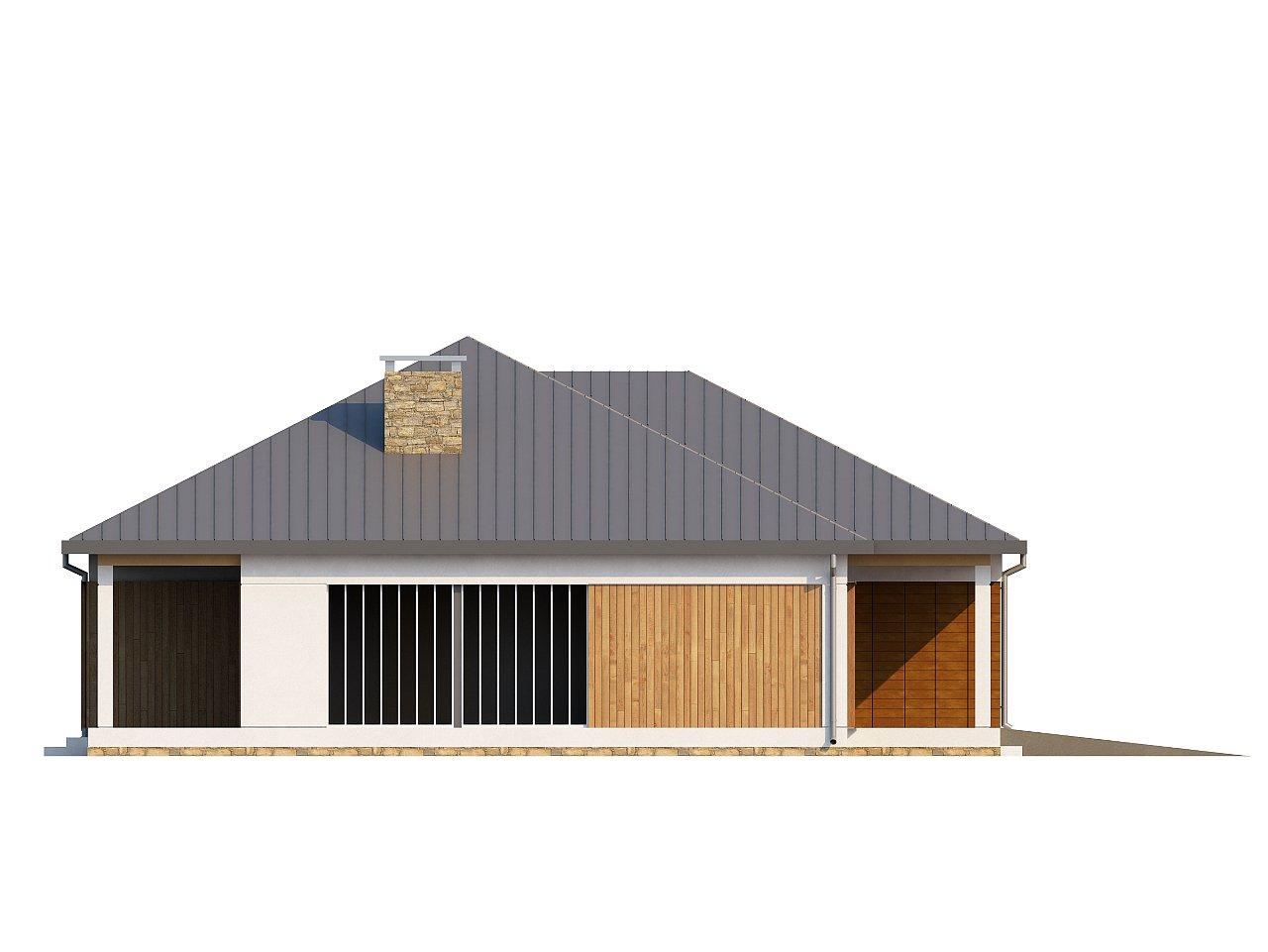 Проект практичного одноэтажного дома с фронтальным выступающим гаражом и крытой террасой. 5