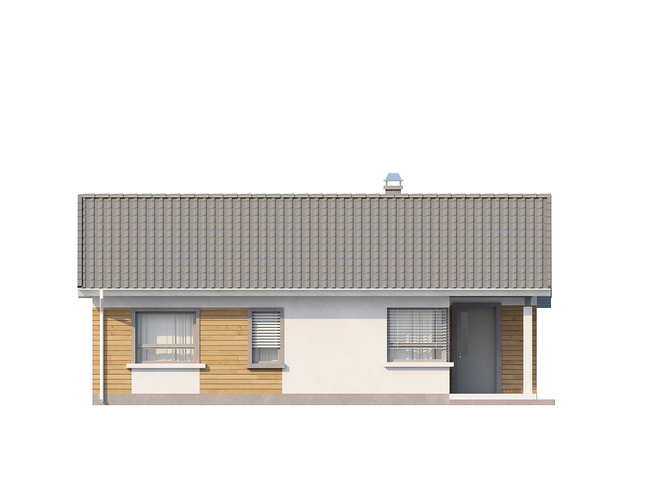 Выгодный компактный одноэтажный дом с угловым окном в кухне. 14