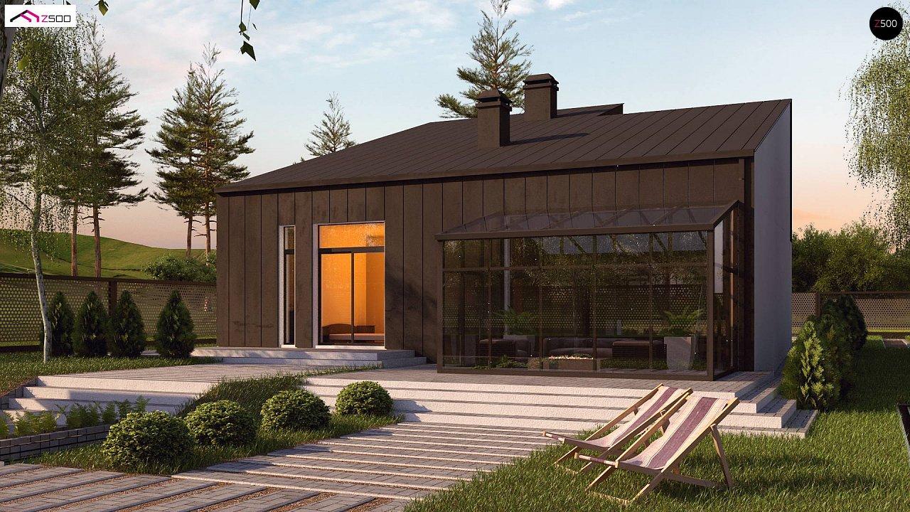 Проект современного двухэтажного дома с оригинальным экстерьером и гаражом на один автомобиль. 2