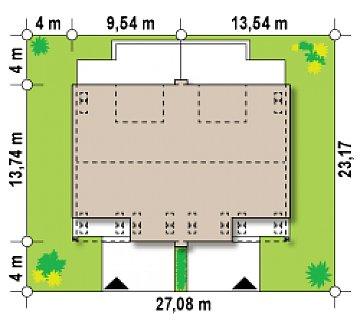Проект домов для симметричной застройки стильного современного дизайна. план помещений 1
