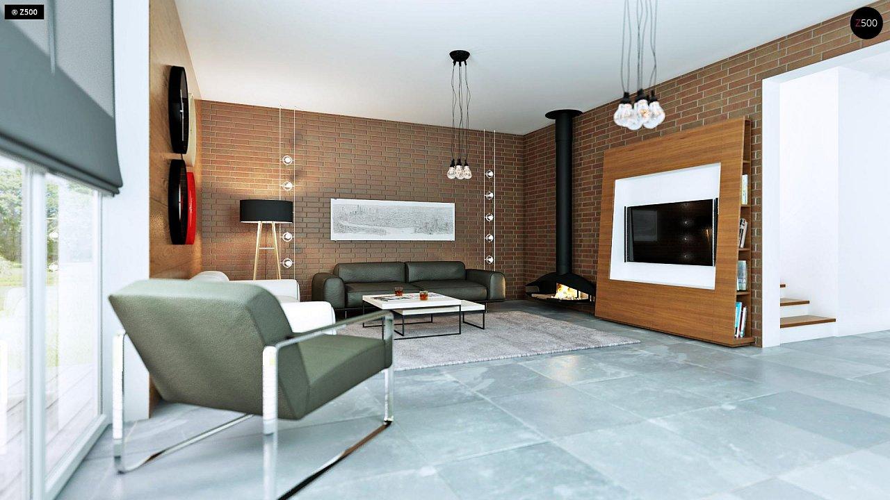 Проект дома с мансардой, с кабинетом на первом этаже и гаражом. 5