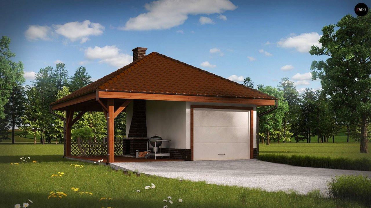 Проект гаража для одного автомобиля, для коттеджей традиционного дизайна 1