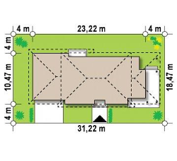 Просторная итальянская двухэтажная вилла с крытой боковой террасой и большим гаражом. план помещений 1