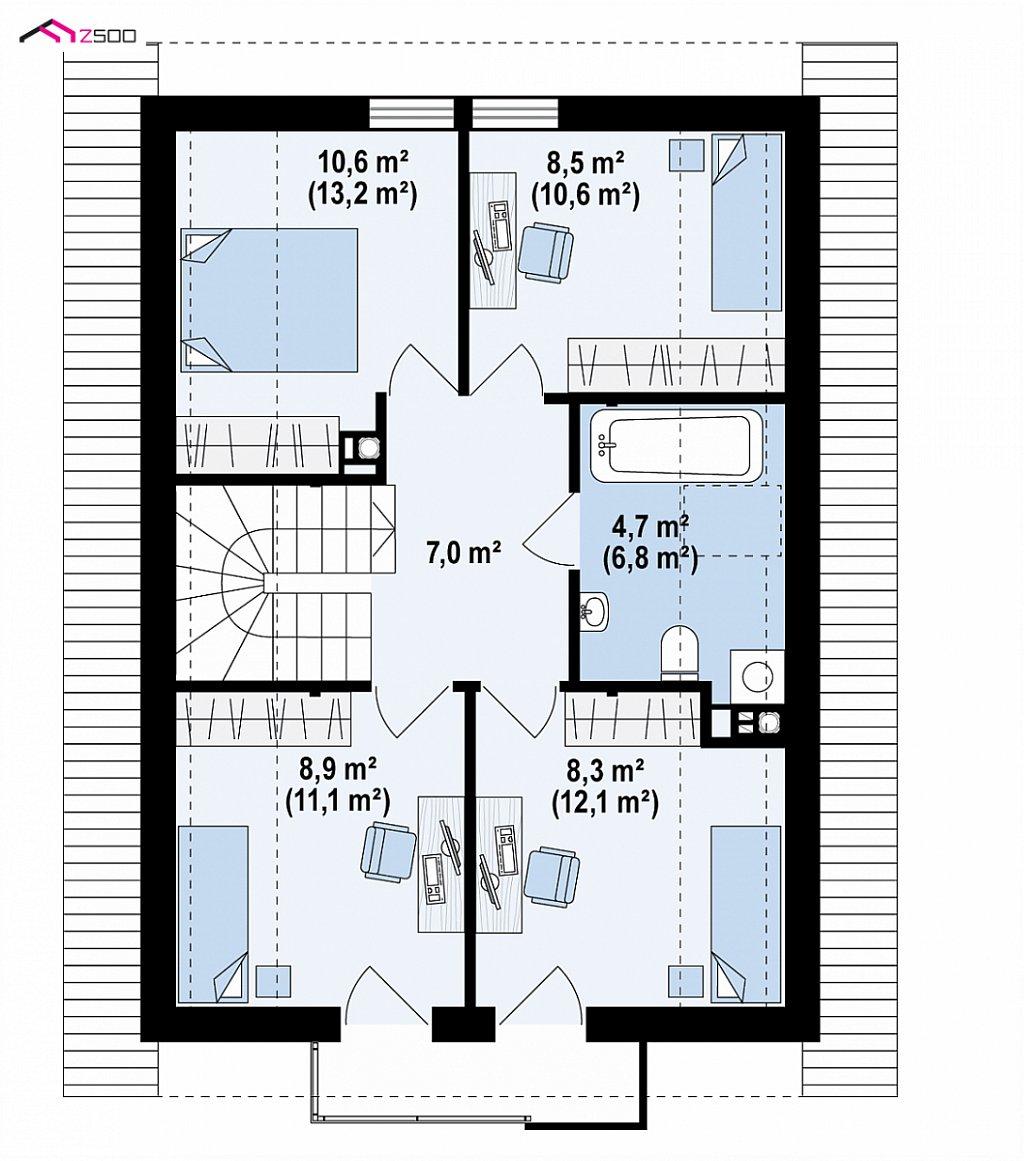Проект мансардного дома с 4 спальнями и кабинетом. план помещений 2