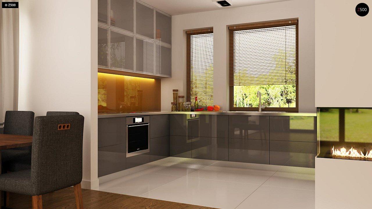 Функциональный одноэтажный дом с современными элементами отделки фасадов. - фото 7