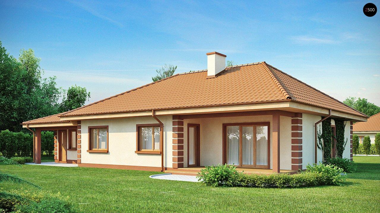 Стильный традиционный одноэтажный дом с гаражом для двух машин. 2