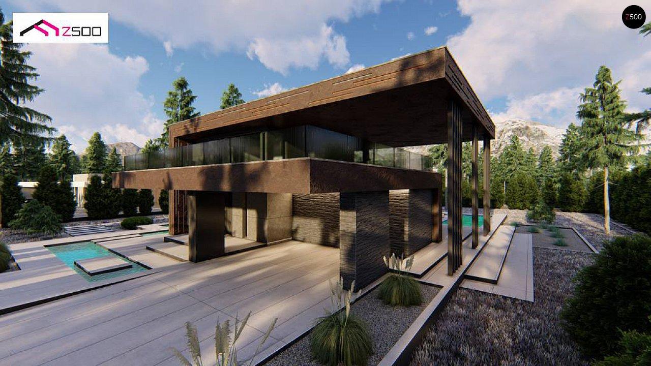 Современный двухэтажный дом с плоской кровлей и навесом для автомобиля - фото 7