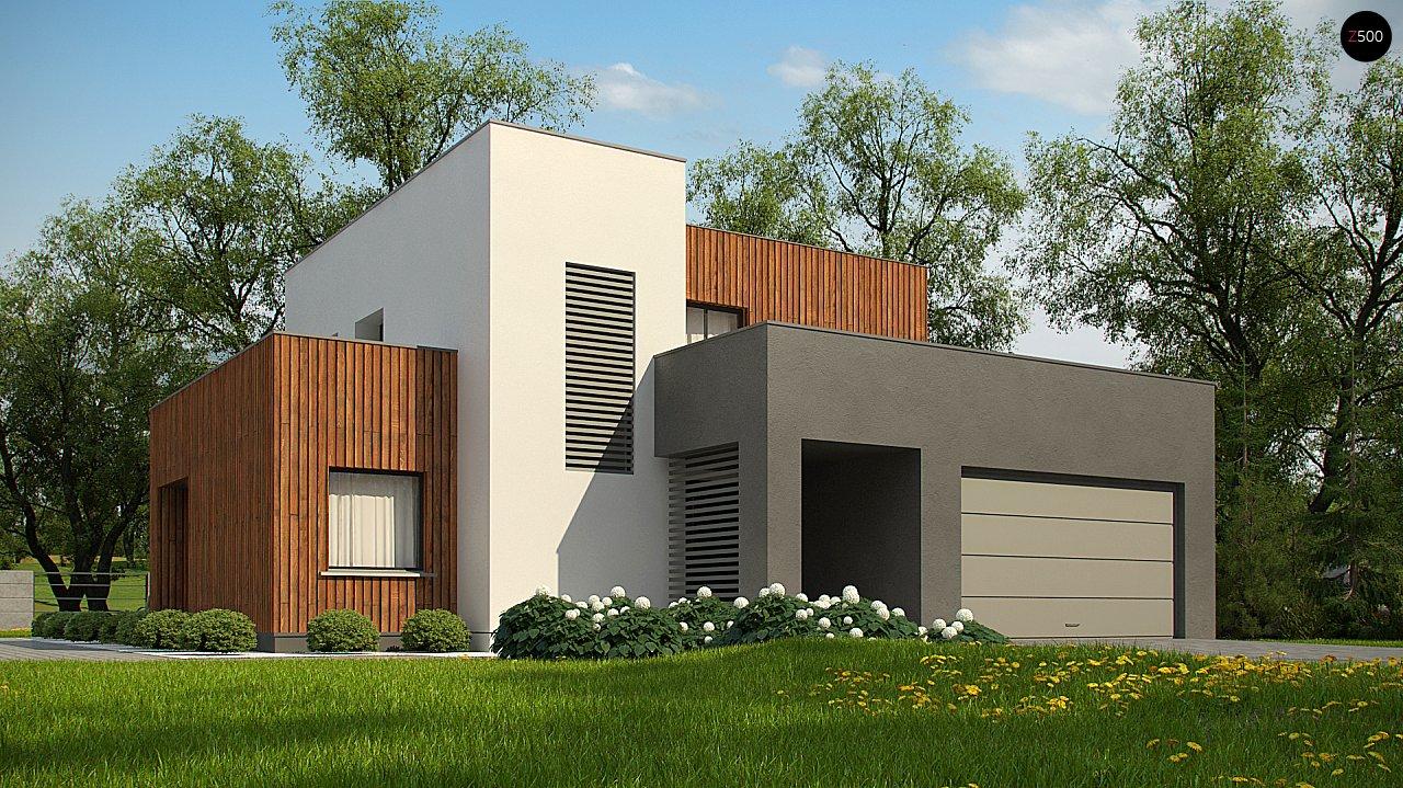 Современный дом с гаражом на 2 машины и террасой на первой 3