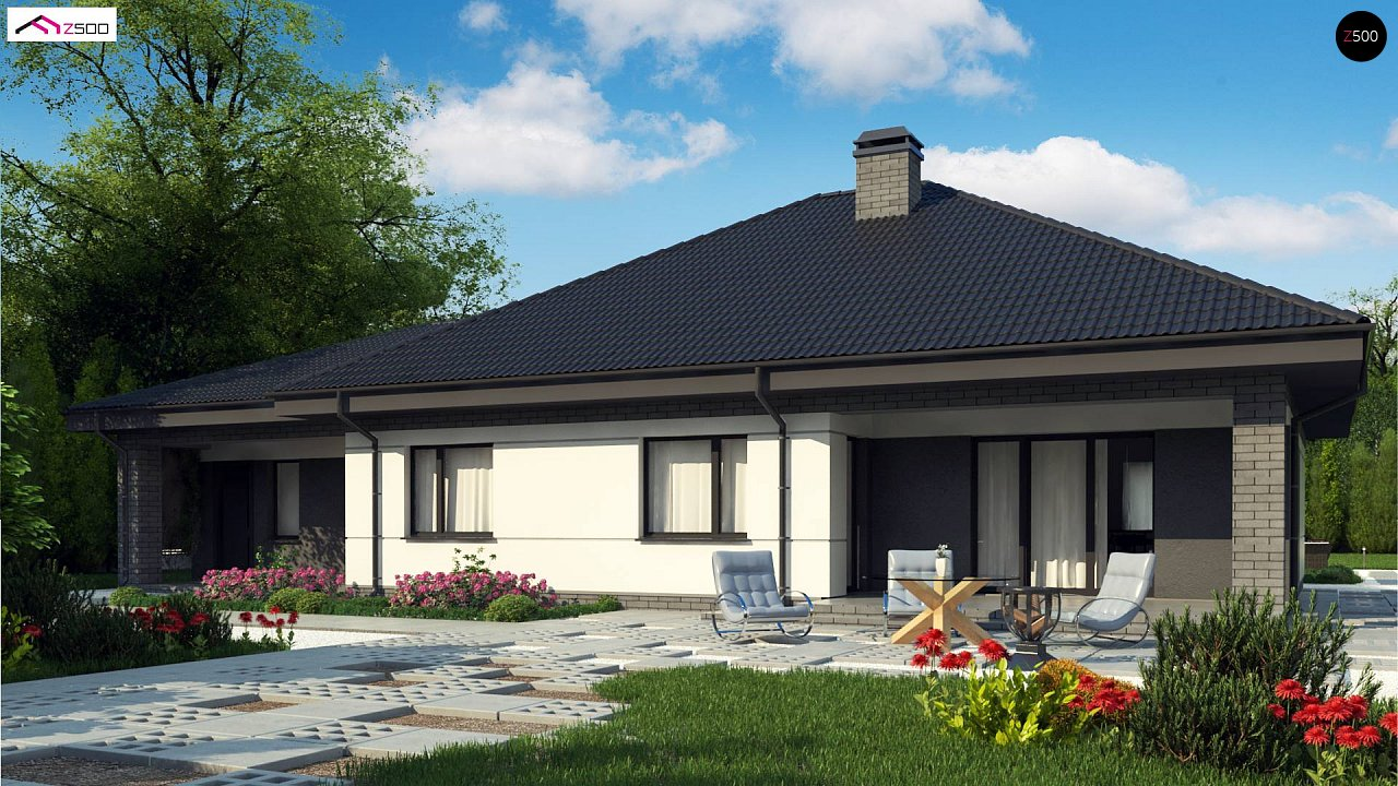 Проект одноэтажного дома с четырехскатной кровлей и гаражом на два автомобиля. 2